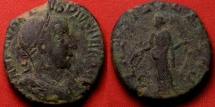 Ancient Coins - GORDIAN III AE sestertius. LAETITIA standing, holding wreath & anchor.