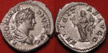 Ancient Coins - CARACALLA AR silver denarius. FELICITAS AVGG, Felicitas standing, holding short caduceus & cornucopia.