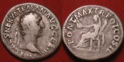 Ancient Coins - TRAJAN AR silver denarius. Vesta seated left, holding patera & torch
