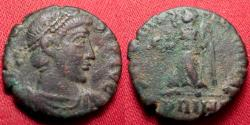 Ancient Coins - GRATIAN AE3 follis. Rome mint. Securitas Reipublicas, Victory advancing. PRIMA in exergue, rare unabbreviated mintmark for Rome's First Officina. Very rare.