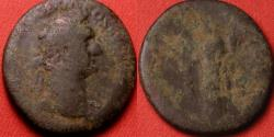Ancient Coins - DOMITIAN AE as. MONETA standing, holding scales & cornucopia