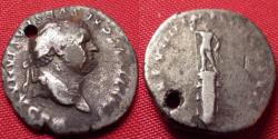 Ancient Coins - TITUS AUGUSTUS AR silver denarius. Statue of Sol on rostral column. Scarce