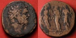 Ancient Coins - SEPTIMIUS SEVERUS AE sestertius. Tres Monetae, the Three Monetas, each standing, holding cornucopia & scales.