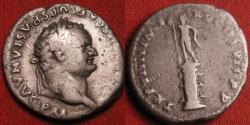 Ancient Coins - TITUS AUGUSTUS AR silver denarius. Statue of Sol on rostral column. Scarce