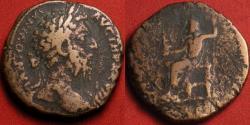 Ancient Coins - MARCUS AURELIUS AE orichalcum sestertius. Jupiter seated, holding Victory statue & scepter.