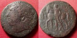 Ancient Coins - THE MAMERTINOI. Messana, Sicily, 211-208 BC. Laureate head of Ares / Warrior standing, leading horse left.