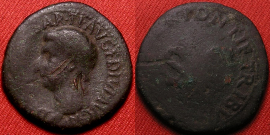 Ancient Coins - DRUSUS, son of Tiberius, AE as. Legend around large SC. Scarce