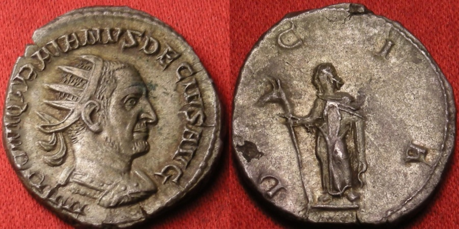 Ancient Coins - TRAJAN DECIUS AR silver antoninianus. DACIA standing, holding draco standard. Attractive