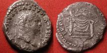 Ancient Coins - TITUS AUGUSTUS AR silver denarius. Throne with corn ears.