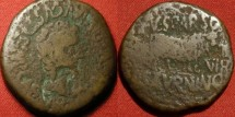 Ancient Coins - TIBERIUS AE as. Calagurris, Spain. Bull standing, duoviri Sparso and Saturnino. Legionary countermark of eagle's head. Rare