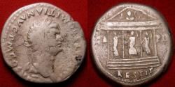 Ancient Coins - DOMITIAN AR silver cistophorus (cistophoric tetradrachm). Commemorating the restoration of the Temple of Jupiter, Juno & Minerva of the Capitoline (Capitoline Triad).