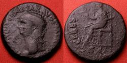 Ancient Coins - CLAUDIUS AE dupondius. Spain, 42 AD. CERES AVGVSTA, Ceres seated left. Interesting bevelled rim, prepared in the provincial fashion