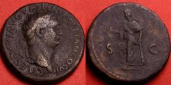 Ancient Coins - DOMITIAN, as Caesar under Titus, AE dupondius. Spes advancing, holding flower & lifting skirt. Heavy 14.0g.