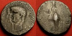 Ancient Coins - CLAUDIUS I & AGRIPPINA II AR silver cistophorus. Ephesus. Jugate portraits. Cult statue of Diana Ephesia.