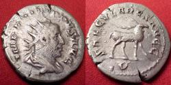 Ancient Coins - PHILIP I THE ARAB AR silver antoninianus. Secular games 'milennial' commemorative. Stag walking