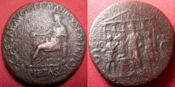 Ancient Coins - CALIGULA AE orichalcum sestertius. 39-40 AD. Sacrificial scene in front of the Temple of Divus Augustus. Rare.