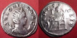 Ancient Coins - SALONINA AR antoninianus. VENVS FELIX, Venus seated, reaching out for child. Scarce