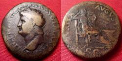 Ancient Coins - NERO AE orichalcum dupondius. SECURITAS seated right, altar at her feet.