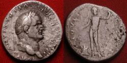 Ancient Coins - VESPASIAN AR silver denarius. IOVIS CUSTOS, Jupiter standing beside flaming altar.