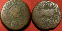 Ancient Coins - TIBERIUS AE as. Calagurris, Spain. Bull standing, duoviri Sparso and Saturnino. Legionary countermark of eagle's head. Rare