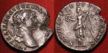 Ancient Coins - TRAJAN AR silver denarius. Victoria standing, holding wreath & palm