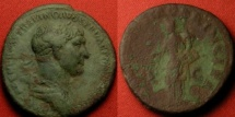 Ancient Coins - TRAJAN AE as. Aequitas standing, holding scales. SPQR OPTIMO PRINCIPI
