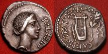 Ancient Coins - MARCUS JUNIUS BRUTUS, as Q CAEPIO BRUTUS, AR silver denarius. Lycia, 42 BC. Libertas, with lyre, quiver & laurel branch.