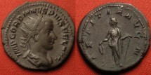 Ancient Coins - GORDIAN III AR antoninianus. LAETITIA AVG N, Laetitia standing, holding wreath & anchor.