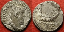 Ancient Coins - POSTUMUS AR silver antoninianus. LAETITIA AVG, galley sailing right. Clashed die, imprint of Postumus' head facing left, in reverse field.