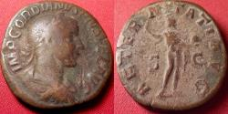 Ancient Coins - GORDIAN III AE sestertius. AETERNITATI AVG, Sol standing left, holding globe, hand raised in salute.