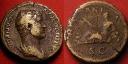 Ancient Coins - HADRIAN AE orichalcum dupondius. HISPANIA, Hispania reclining, rabbit at her feet.