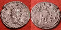 Ancient Coins - GALLIENUS AR silver antoninianus. Mediolanum. DIANA FELIX, Diana standing, holding long spear & bow, stag at her feet. Scarce.