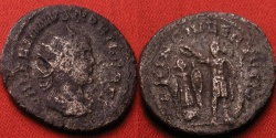 Ancient Coins - VALERIAN II CAESAR AR silver antoninianus. Prince of the Youth, Valerian II standing beside trophy. Eastern mint.