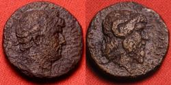 Ancient Coins - HADRIAN AE quadrans. Caesarea, Cappadocia. COS III, horned & bearded bust of Zeus-Ammon. Rare.