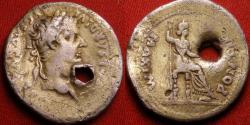 Ancient Coins - TIBERIUS AR silver denarius. PONTIF MAXIM, Livia, as Pax, seated right. Gold gilded & pierced