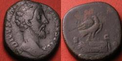 Ancient Coins - DIVUS MARCUS AURELIUS AE sestertius. CONSECRATIO, Eagle on altar.