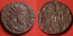 Ancient Coins - AUREOLUS, in the name of Postumus, silvered antoninianus. Mediolanum, 267-268 AD. CONCORD EQVIT, Concordia standing, foot on prow of ship. SCARCE