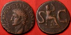 Ancient Coins - DIVUS AUGUSTUS AE radiate as. Commemorative issue struck by Tiberius. LIVIA seated between huge SC. Attractive