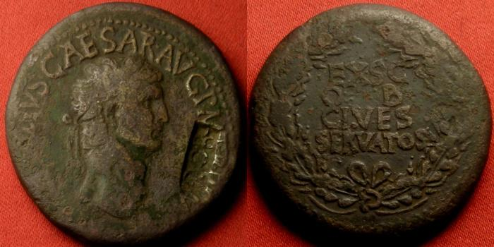 Ancient Coins - CLAUDIUS AE sestertius. 41-50 AD. EX SC OB CIVES SERVATOS in oak wreath