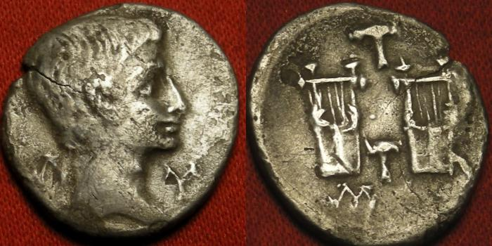 Ancient Coins - AUGUSTUS AR silver drachm. Lycian League, Masikytes (Masicytes, Masicytus). Two citharas, with two plectrae (pluckers) between. Rare