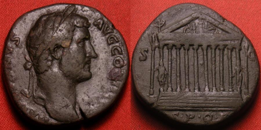 Ancient Coins - HADRIAN AE orichalcum sestertius. Decastyle temple of Venus & Mars on the Capitoline