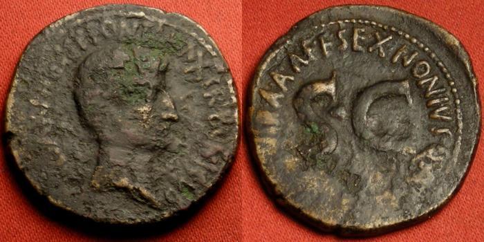 Ancient Coins - AUGUSTUS AE as. Moneyer's series, 6 BC, struck by Sextus Nonius Quinctilianus.