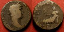 Ancient Coins - HADRIAN AE as. AEGYPTOS, Egypt reclining, ibis on column.