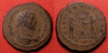 Ancient Coins - CARUS AE antoninianus. Cyzicus mint. CLEMENTIA TEMP, Carus receiving Victory from Jupiter.
