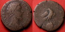 Ancient Coins - DIVUS MARCUS AURELIUS AE sestertius. Posthumous issue by Commodus. Eagle on globe, scarce.