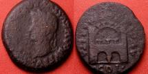 Ancient Coins - TIBERIUS AE as. Augusta Emerita, (Merida) Lusitania. City gate. Scarce