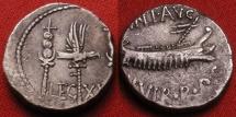 MARCUS ANTONIUS AR silver legionary denarius. LEGION XX, the Twentieth. Galley sailing. Eagle & standards.