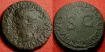 Ancient Coins - TIBERIUS AE as, RESTORATION series by Titus. Single line legend on reverse. Scarce