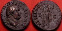Ancient Coins - DIVUS VESPASIAN AE as. Struck under Titus. Aeternitas standing left. Unlisted.