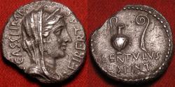 Ancient Coins - G CASSIUS LONGINUS & P CORNELIUS LENTULUS SPINTHER AR silver denarius. Military mint with Brutus & Cassius, 42 BC. Caesar's assassins. Bust of Libertas, jug & lituus